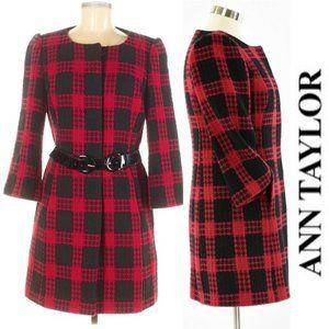 Ann Taylor LOFT Plaid Bracelet Sleeve Coat, 6